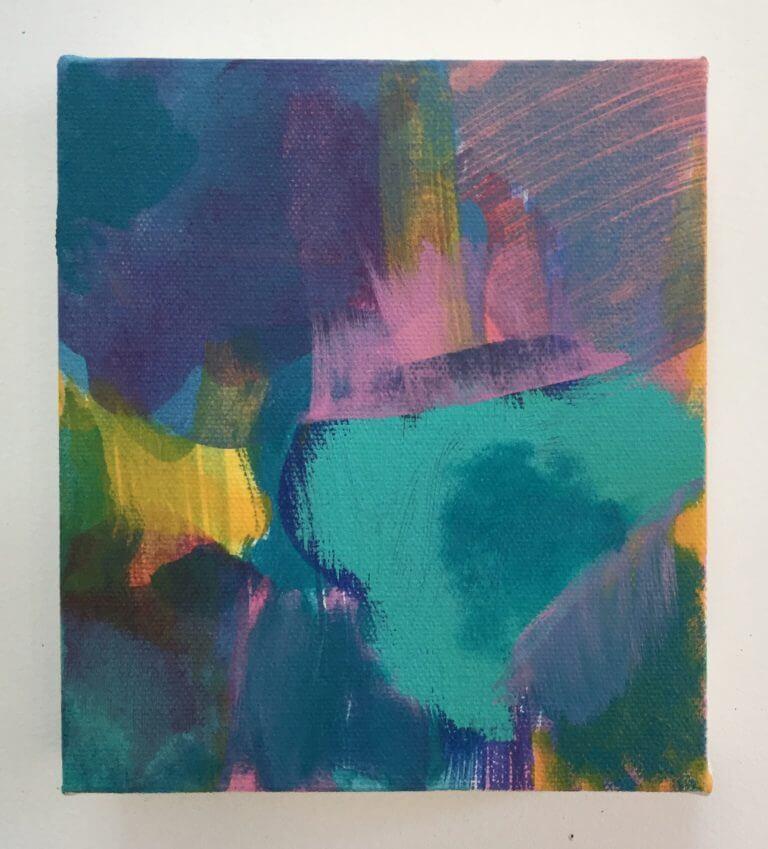 Lotus, 2019 Peinture à l'acrylique sur toile, 17x15 cm
