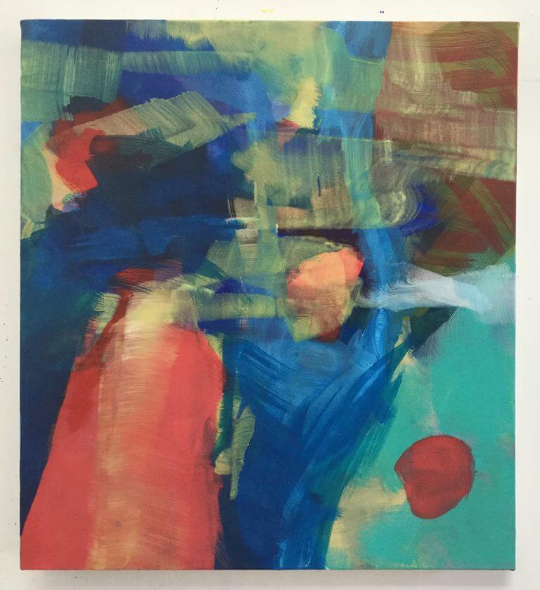 Le Soleil Hélas, 2020 Peinture à l'acrylique et pigments sur toile, 45x41 cm