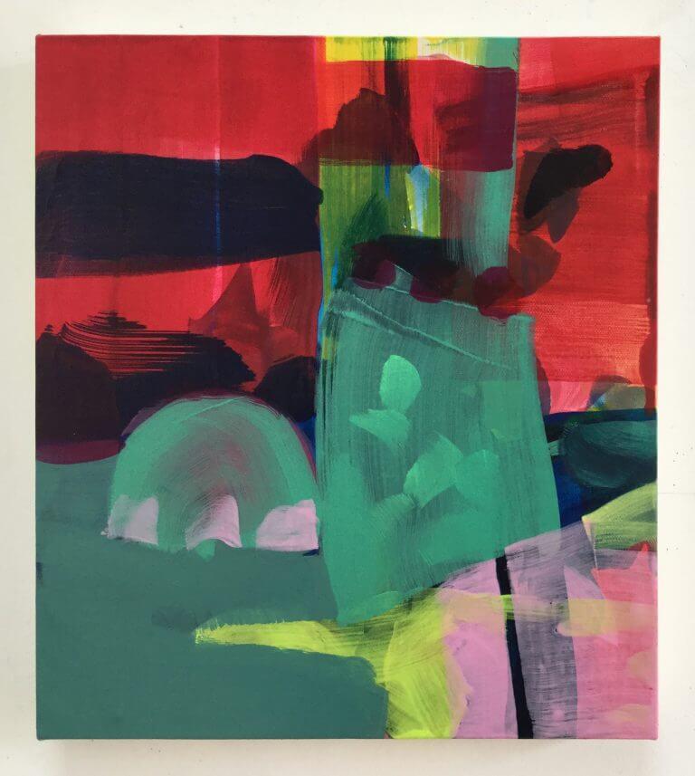 La vie de château, 2020 Peinture à l'acrylique et pigments sur toile, 35x31 cm