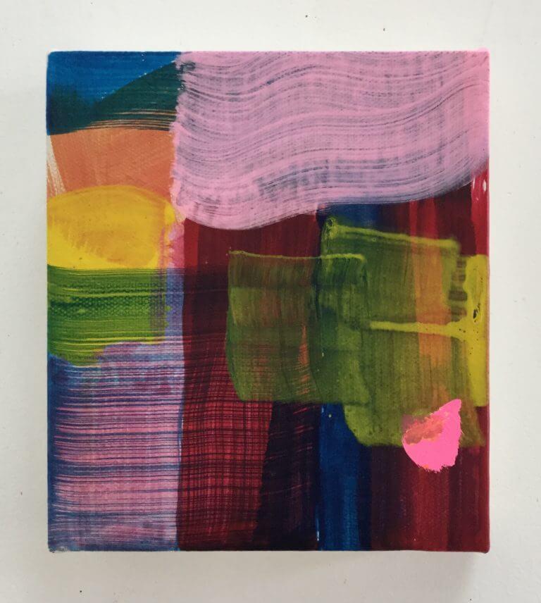 Outrément, 2020 Peinture à l'acrylique et pigments sur toile, 17x15 cm