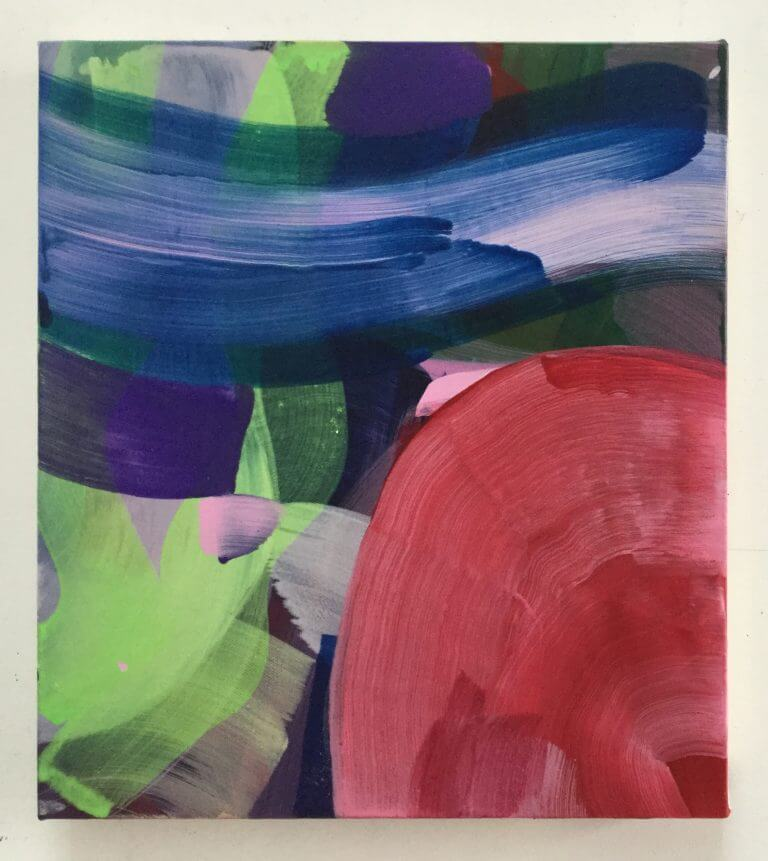 Toboggan de Juliette, 2020 Peinture à l'acrylique et pigments sur toile, 35x31 cm