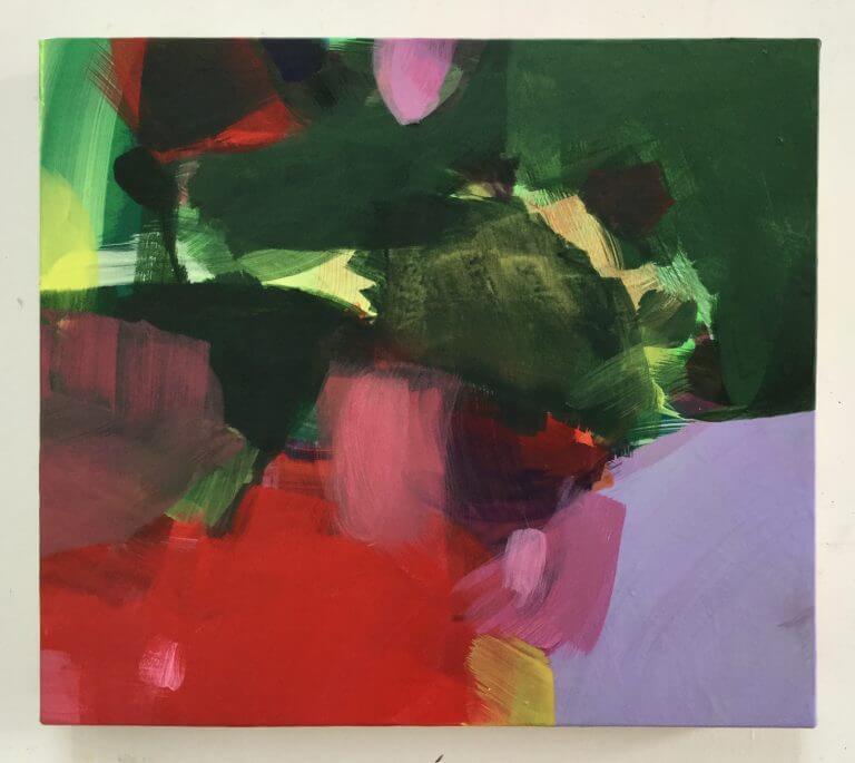 Paysage, 2020 Peinture acrylique et pigments sur toile, 31x35 cm