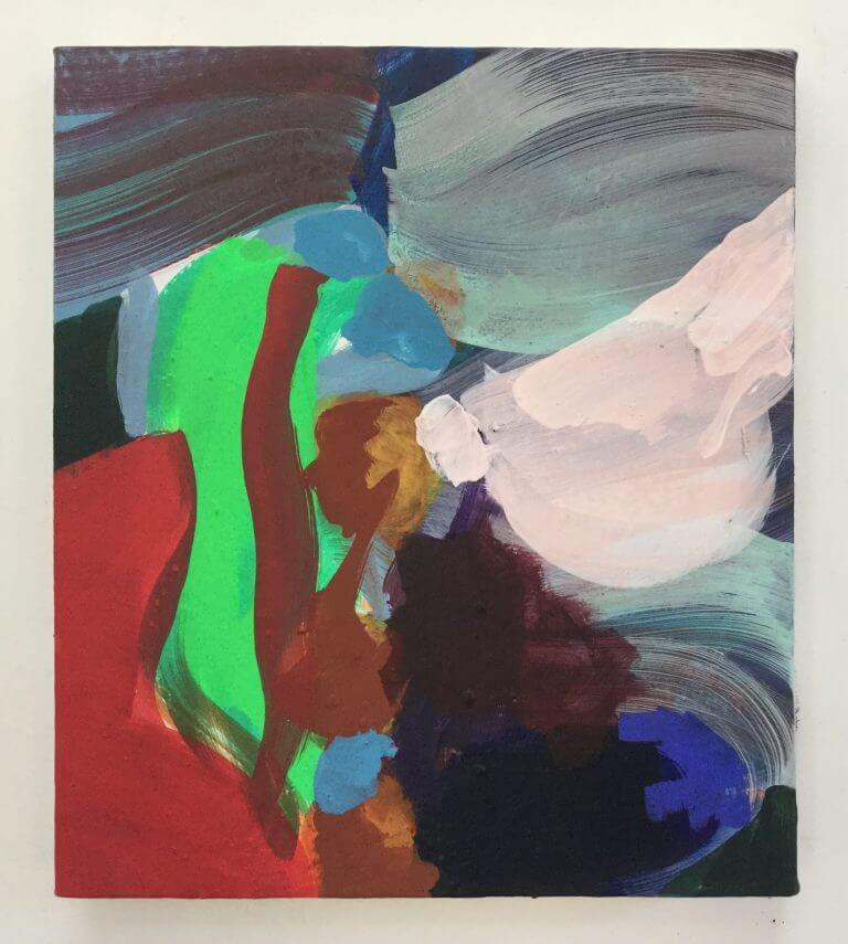 Les Fluides, 2020 Peinture à l'acrylique et pigments sur toile, 35x31 cm