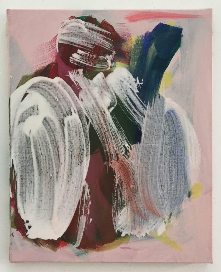Bobine, 2020 Peinture acrylique et pigments et gesso sur toile, 41x33 cm