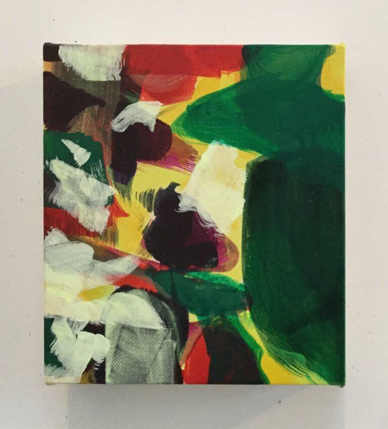 Pistache, 2020 Peinture à l'acrylique et pigments sur toile, 17x15 cm