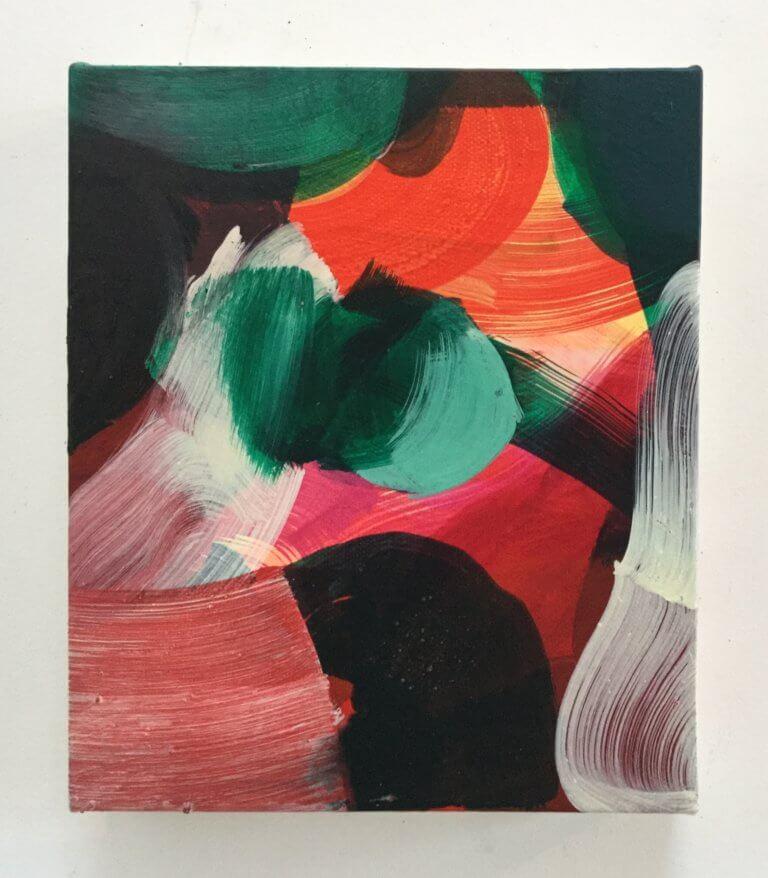 Fish, 2020 Peinture à l'acrylique et pigments sur toile, 21x17 cm