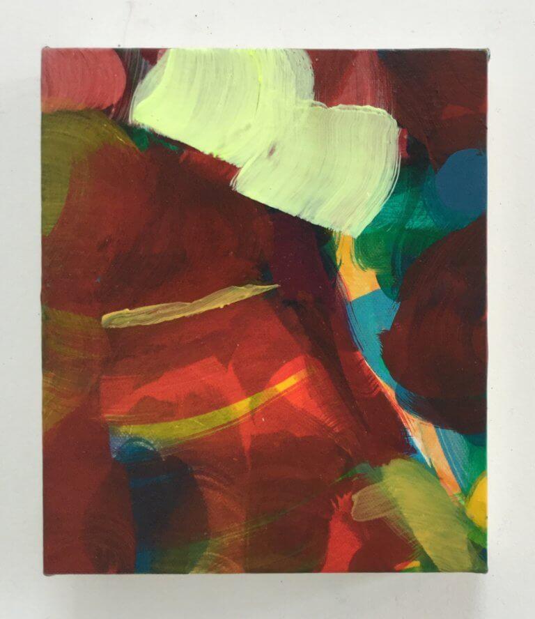 Bonhomme, 2020 Peinture à l'acrylique et pigments sur toile, 21x17 cm