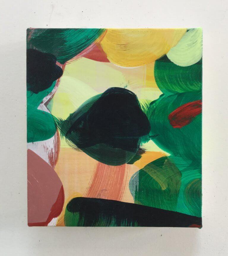 Berlingot, 2020 Peinture à l'acrylique et pigments sur toile, 17x15 cm