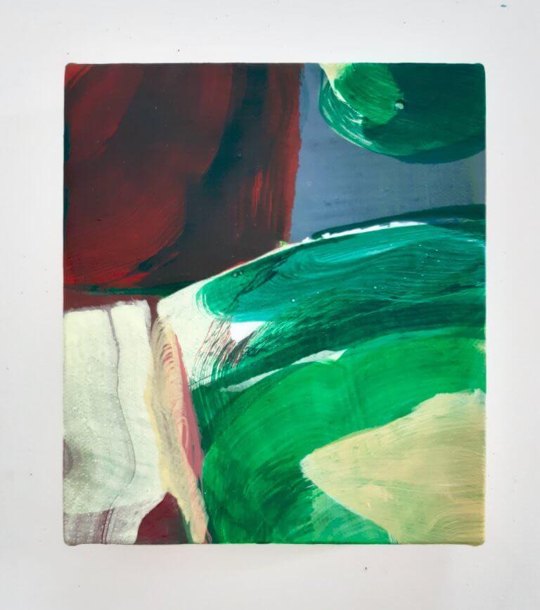 Sous la couette, 2020 Peinture à l'acrylique et pigments sur toile, 17x15 cm