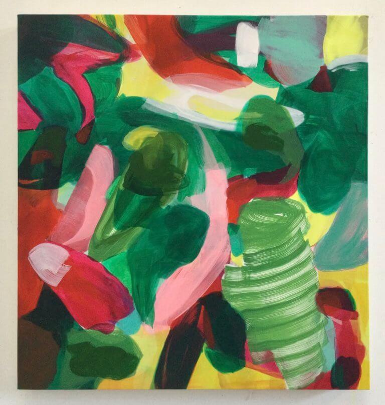 Tourbillon des filles, 2020 Peinture à l'acrylique et pigments sur toile, 61x57 cm