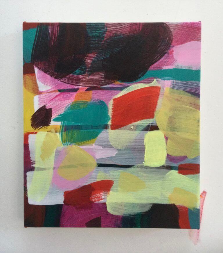 De l'autre côté, 2020 Peinture à l'acrylique et pigments sur toile, 24x21 cm