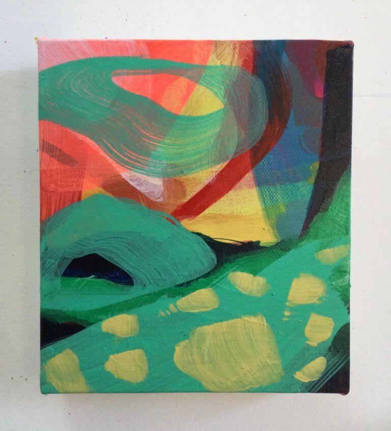 Éclat dans l'hiver, 2020 Peinture à l'acrylique et pigments sur toile, 17x15 cm