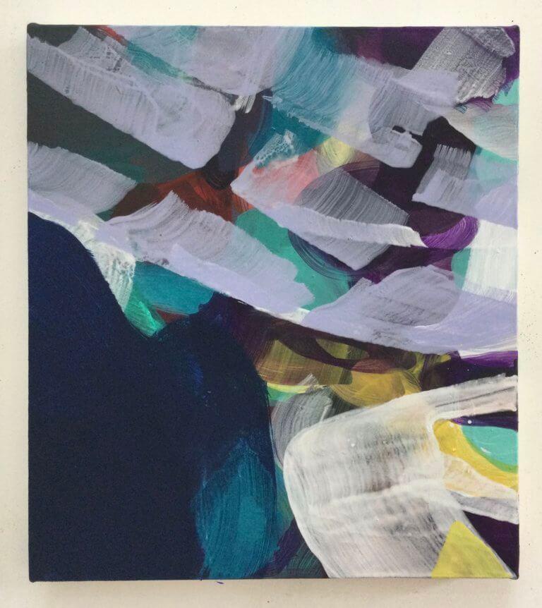 Sans titre, 2021 Peinture à l'acrylique et pigments sur toile, 40x35 cm
