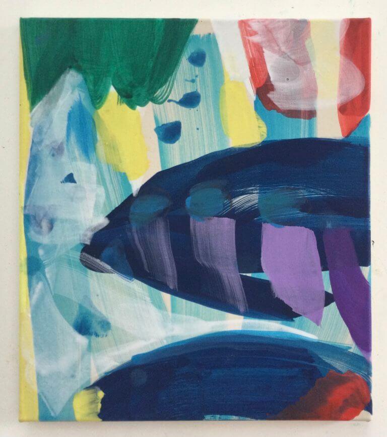 Dans les profondeurs, 2021 Peinture à l'acrylique et pigments sur toile, 40x35 cm