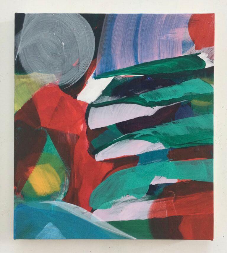 Clair de lune, 2021 Peinture à l'acrylique et pigments sur toile, 35x31 cm