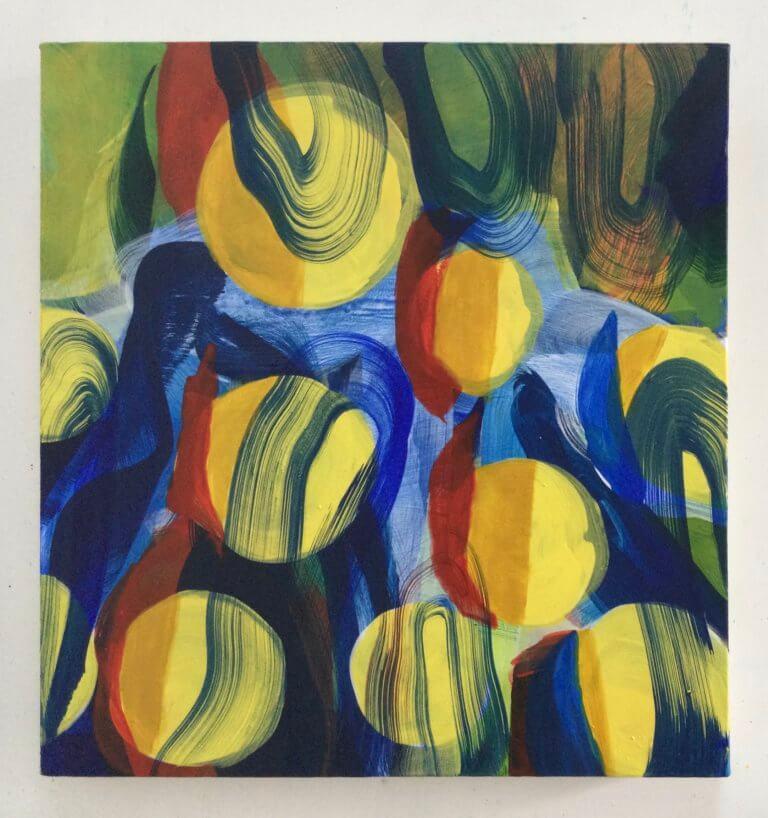 Plein Est, 2021 Peinture à l'acrylique et pigments sur toile, 41x38 cm