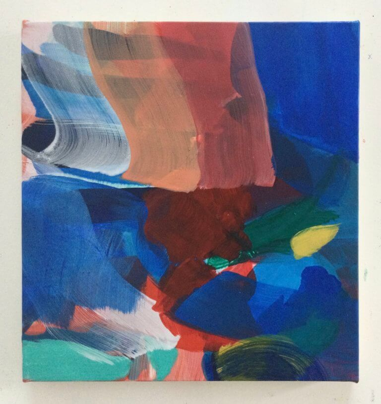 Feutré, 2021 Peinture à l'acrylique et pigments sur toile, 31x29 cm