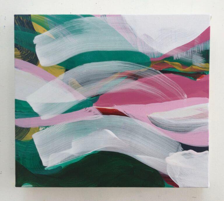Colline, 2021 Peinture à l'acrylique et pigments sur toile, 23x20 cm