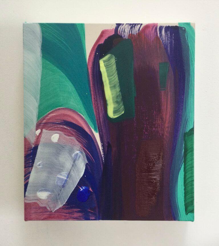Violine, 2021 Peinture à l'acrylique et pigments sur toile, 24x21 cm