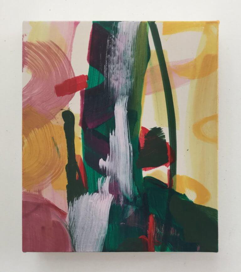 Ça pétarade à Stalingrad, 2020 Peinture à l'acrylique et pigments sur toile, 21x17 cm