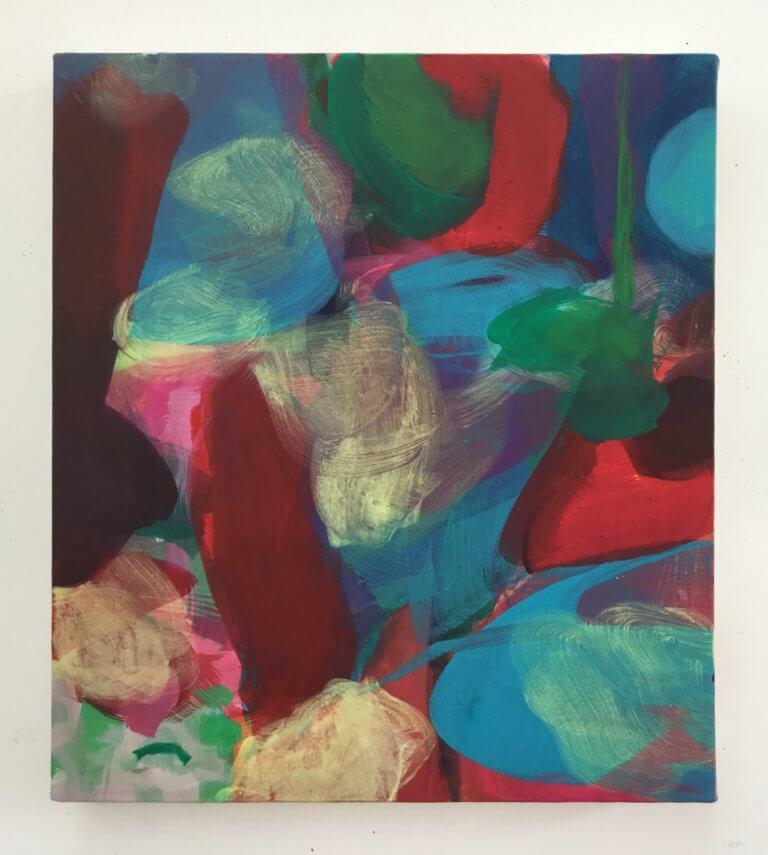 Repentir, 2020 Peinture à l'acrylique et pigments sur toile, 35x31 cm