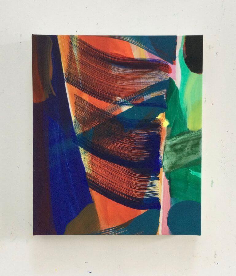 Poudrière, 2021 Peinture à l'acrylique et pigments sur toile, 30x25 cm