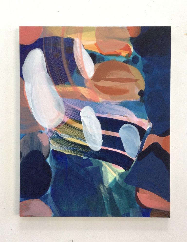 Flocons, 2021 Peinture à l'acrylique et pigments sur toile, 61x49 cm