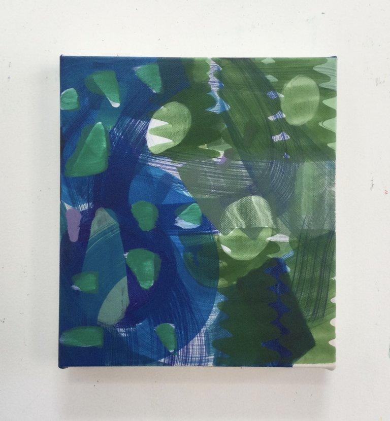 Sans titre, 2021 Peinture à l'acrylique et pigments sur toile, 23x20 cm