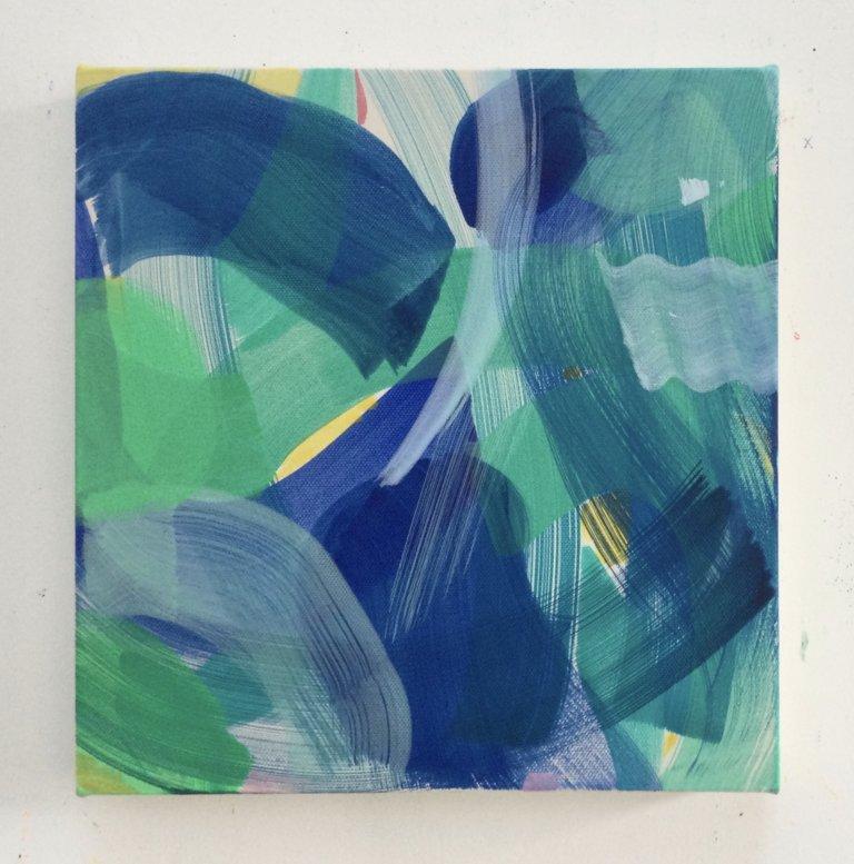 Voile Actée, 2021 Peinture à l'acrylique et pigments sur toile, 27x26 cm