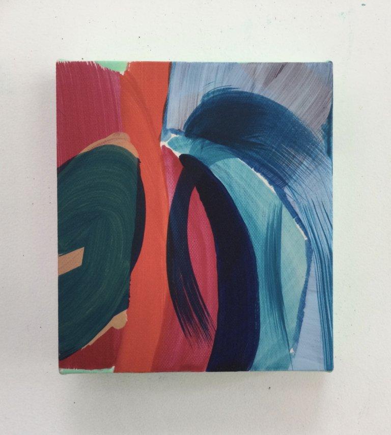 Red-blue, 2021 Peinture à l'acrylique et pigments sur toile, 17x15 cm