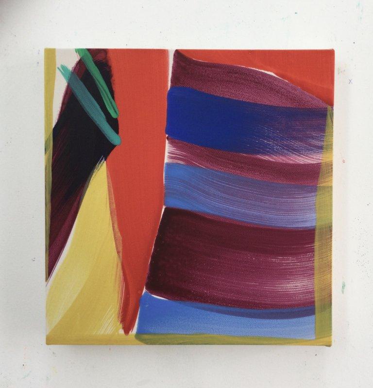 Trait pour trait, 2021 Peinture à l'acrylique et pigments sur toile, 27x26 cm