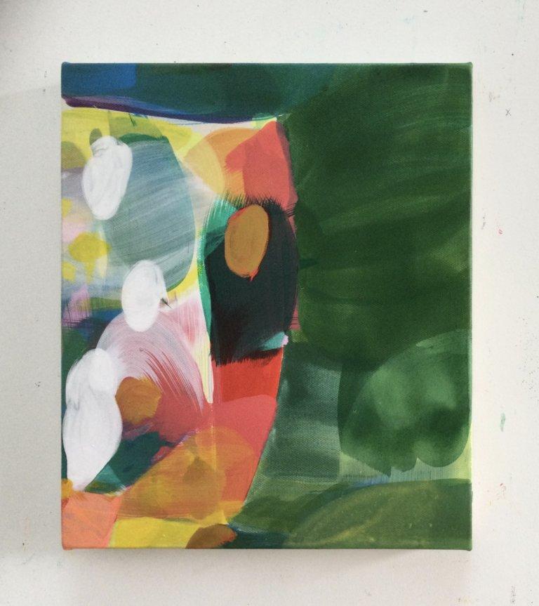 Shebam, 2021 Peinture à l'acrylique et pigments sur toile, 30x25 cm